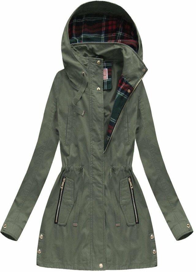 Bavlněná bunda parka v khaki barvě s kapucí (W158) - M (38) - khaki
