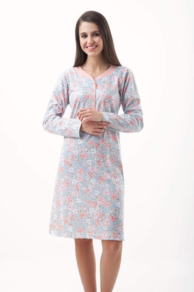 Dámská noční košile Luna 231 dl r 3XL - XXXL - šedá edfb44573e