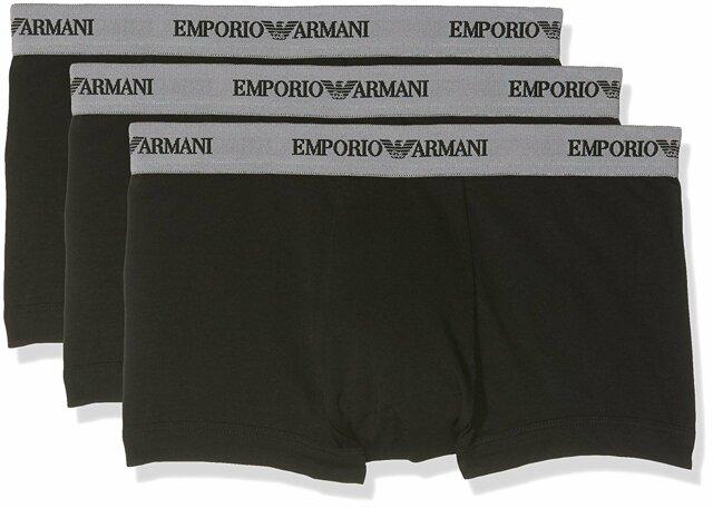 Boxerky 3pcs 111357 CC717 00120 černá - Emporio Armani