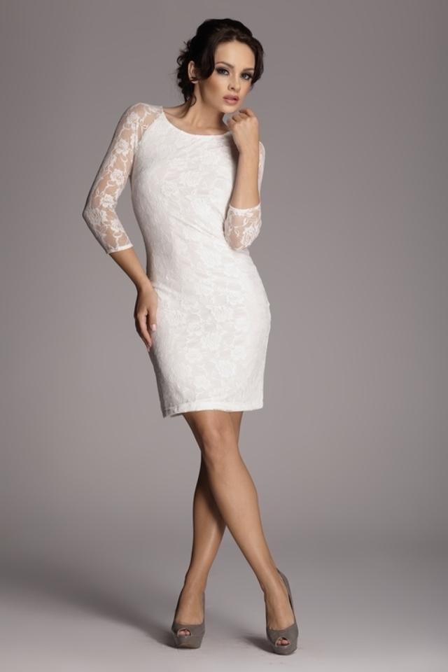 Dámské šaty M076 ecru - XL - krémová