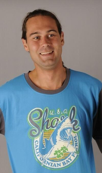 Pánská noční košile s krátkým rukávem Žralok - tyrkysová/šedá M
