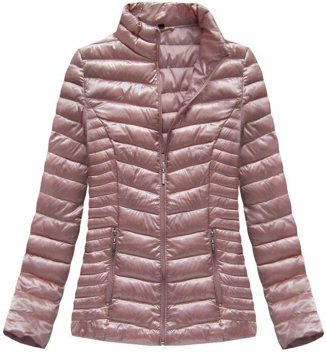 Růžová lesklá bunda se stojáčkem (B2601) - XL (42) - růžová