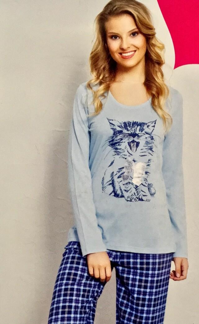 Dámské pyžamo dlouhé Kotě - světle modrá L