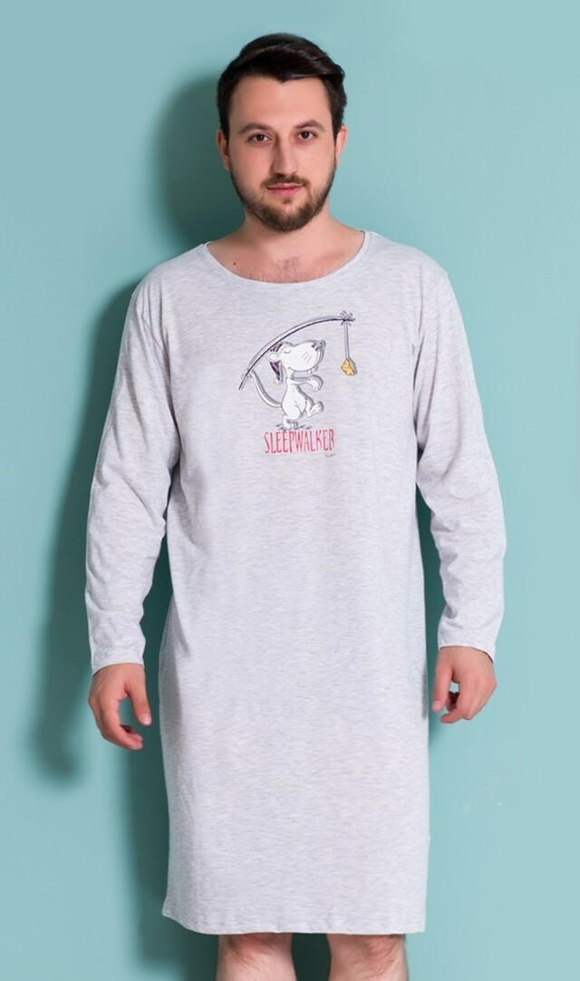 Pánská noční košile s dlouhým rukávem Sleepwalker - šedá L