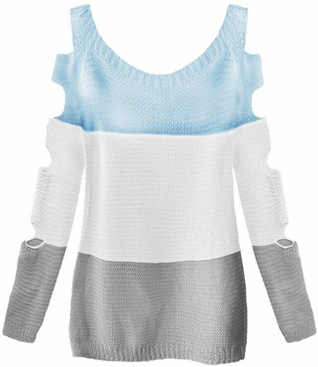 Světle modro-bílý svetr s průstřihy na rukávech (228ART) - ONE SIZE - bílá