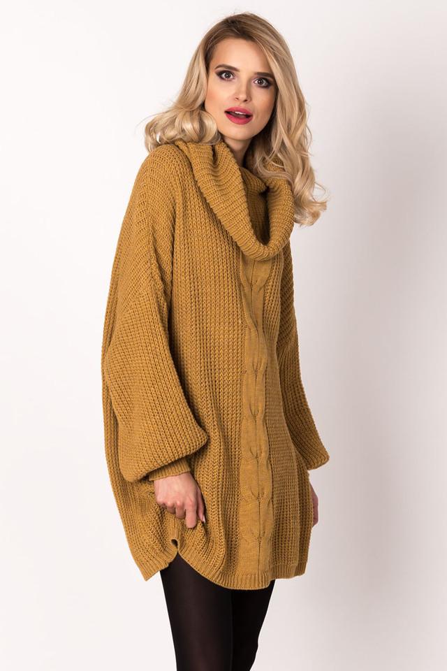 Dámské svetrové šaty SW-416 - UNI - hořčicová be1cfda375