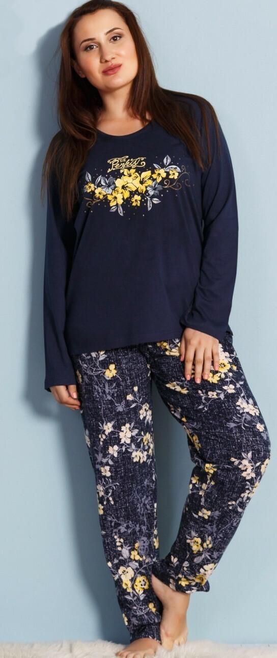 Dámské pyžamo dlouhé Květena - tmavě modrá 1XL