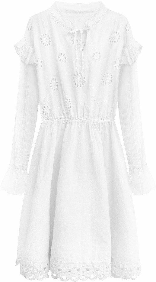 Bílé bavlněné dámské šaty s výšivkou (303ART) - ONE SIZE