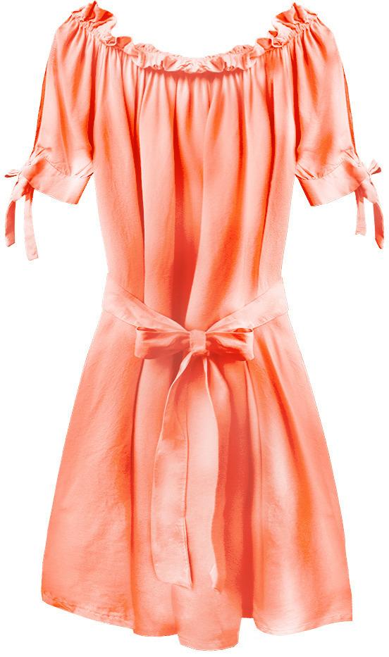 Dámská tunika španělského typu v neonově lososové barvě s páskem (279ART) - jedna velikost - oranžový