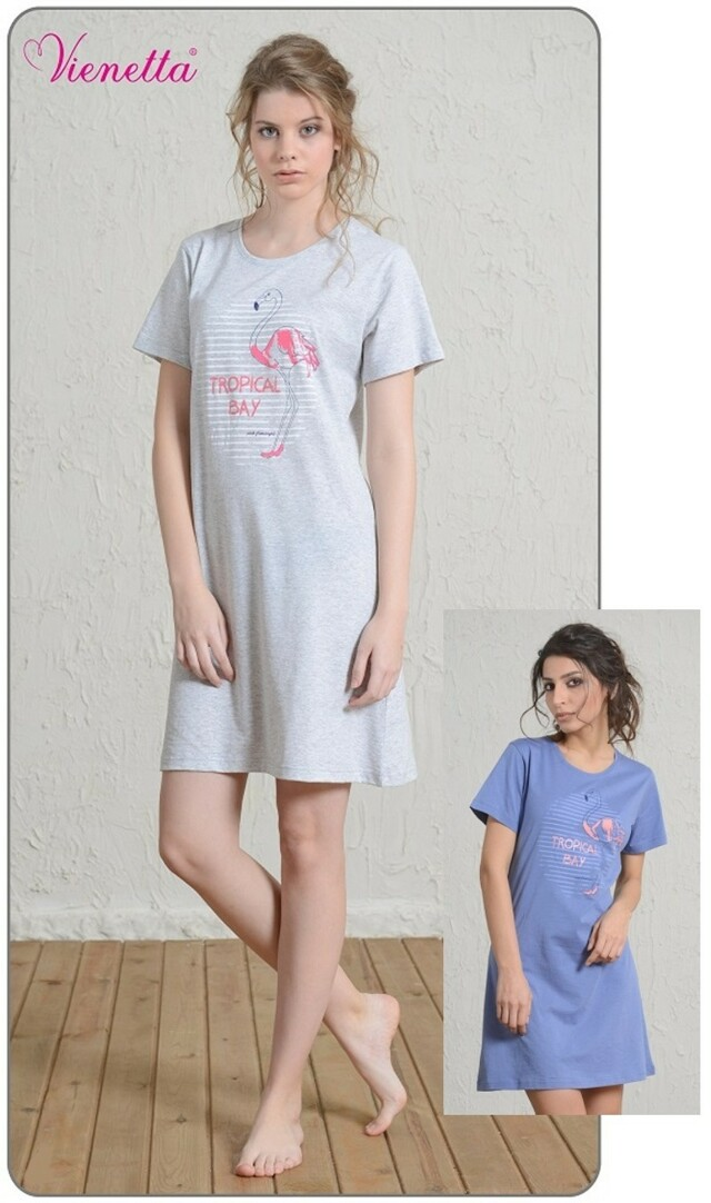 Dámská noční košile s krátkým rukávem Plameňák