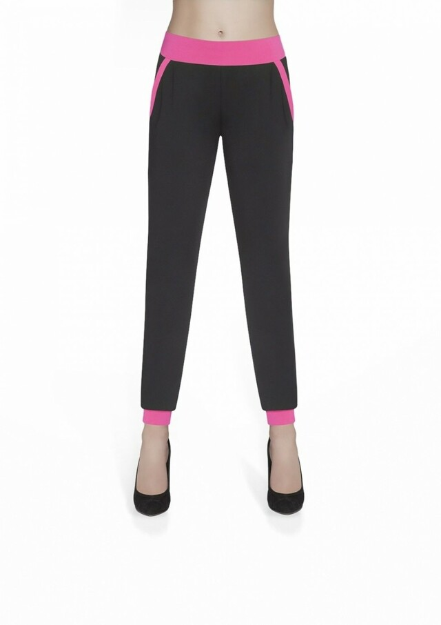 Dámské sportovní kalhoty Hannah pink - M - černá-růžová