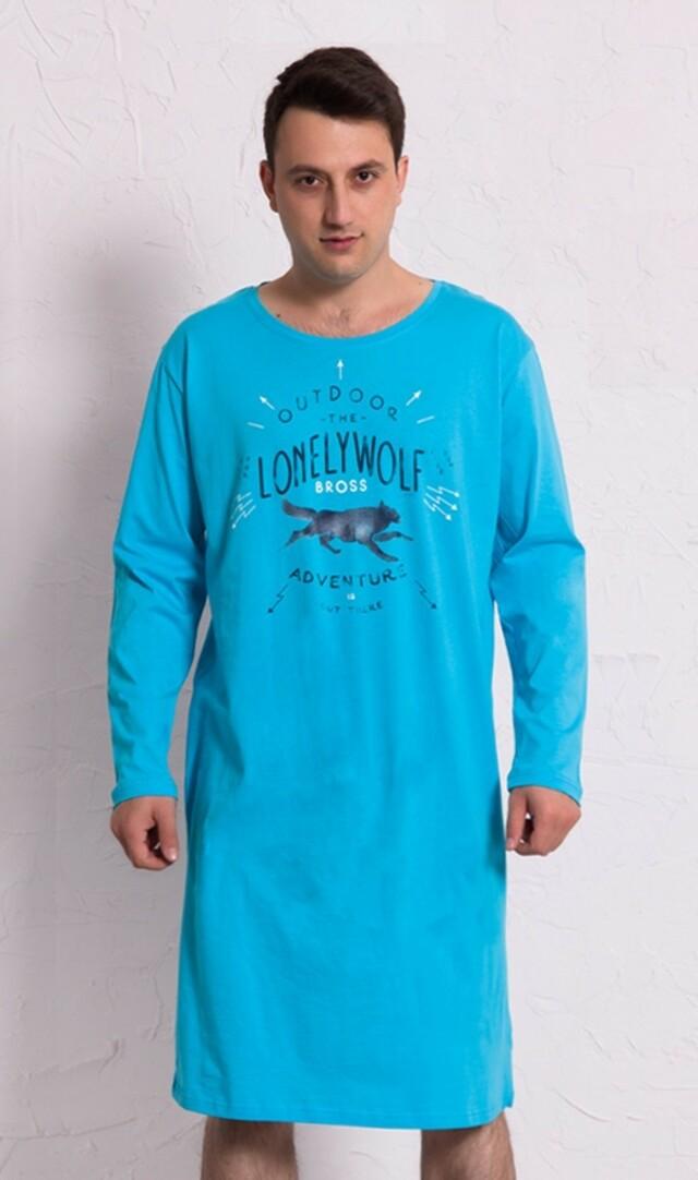 Pánská noční košile s dlouhým rukávem Vlk - světle modrá S