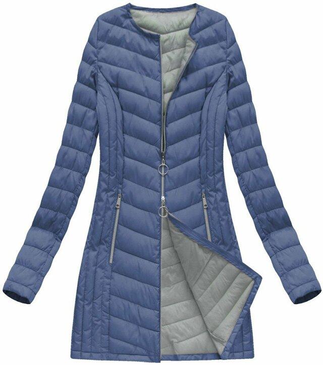 Modrá dlouhá prošívaná bunda (21814) - 48 - modrá