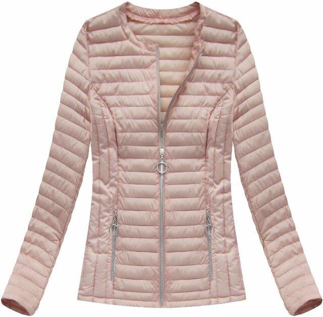 Lososová dámská prošívaná bunda (21817) - 48 - růžová