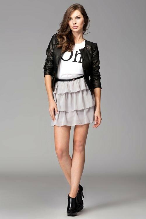 Dámská sukně M093 grey - L - šedá