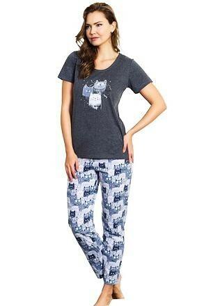 Dámské pyžamo Three Cats šedé - L