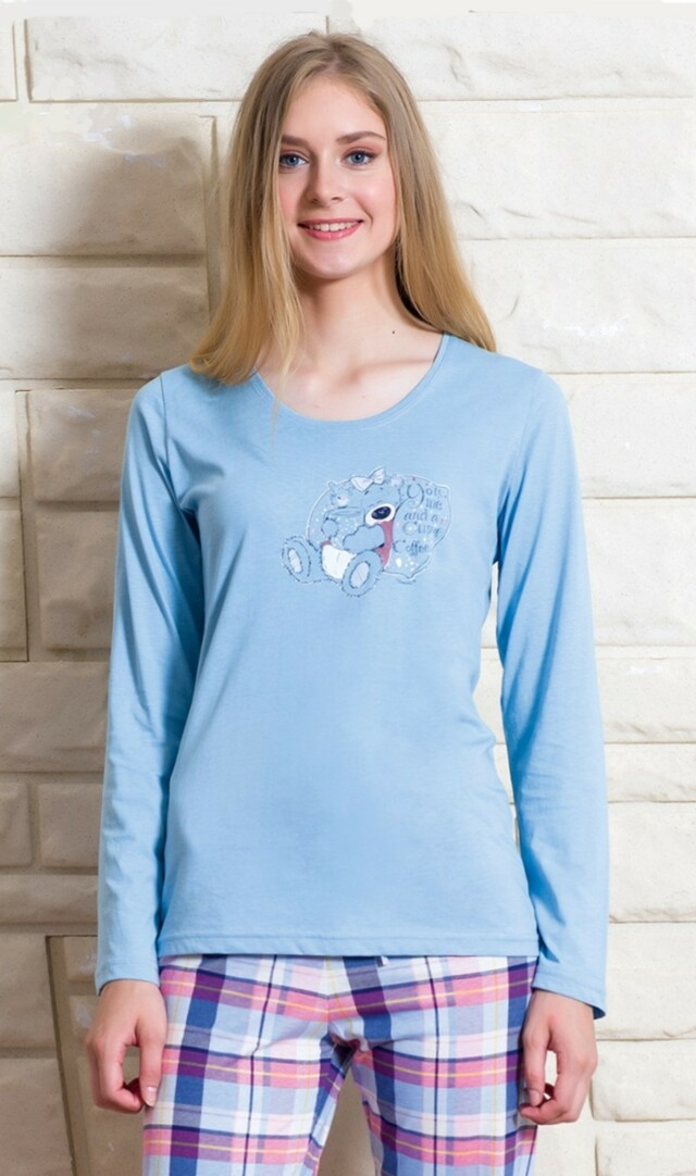 Dámské pyžamo dlouhé Méďa s medem - korálová M
