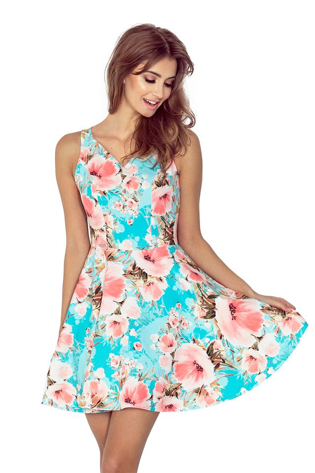 Modré květované šaty MM 014-1 - L