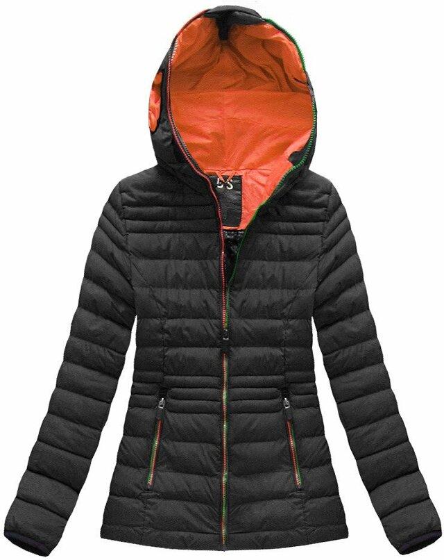 Černo-oranžová dámská zimní bunda s brýlemi (CX582W)