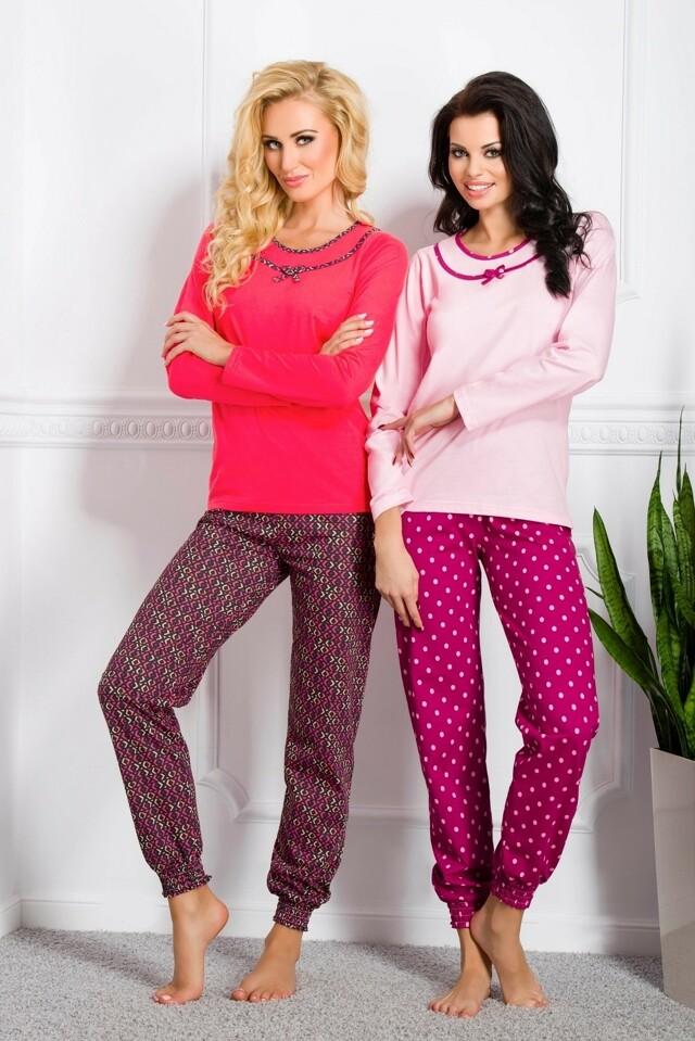 Dámské pyžamo Taro Ismena N.869 dl/r S-XL - XL - malinová-černá