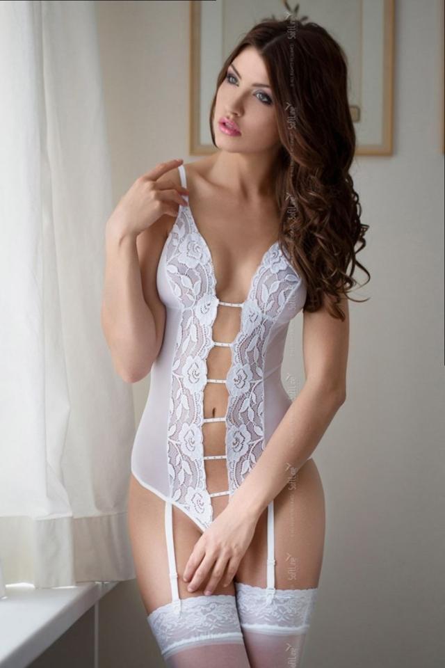 Erotické body Tina white - S/M - bílá