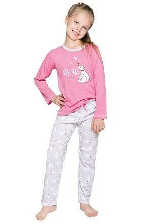 Dívčí vánoční pyžamo s medvídkem Oda růžové - 116