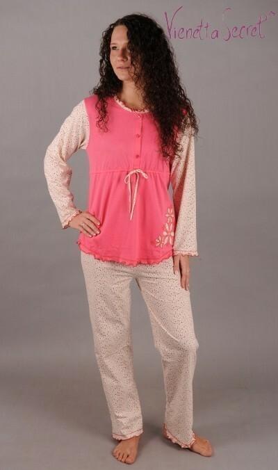 Mateřské pyžamo dlouhé Kytka s výšivkou - lososová XXL