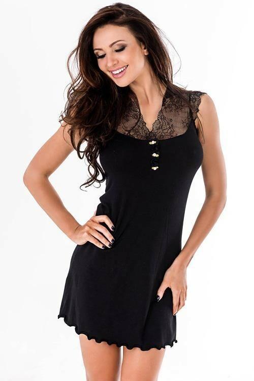 Noční košilka Hamana Melani II black - XL - černá