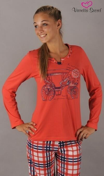 Dámské pyžamo dlouhé Auto - korálová L