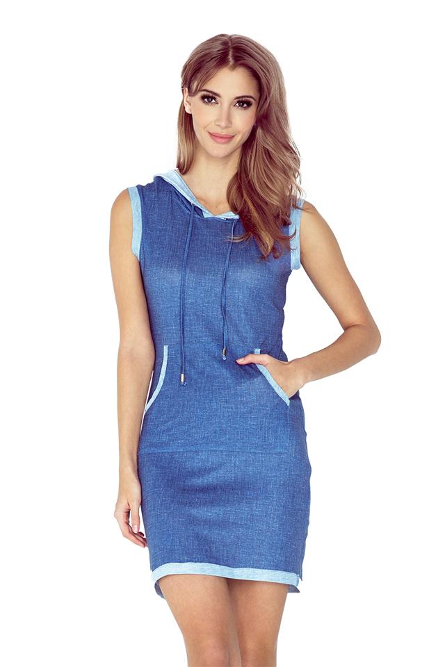 Světle modré šaty s kapucí a klokankou, krátké MM 009-2 - S