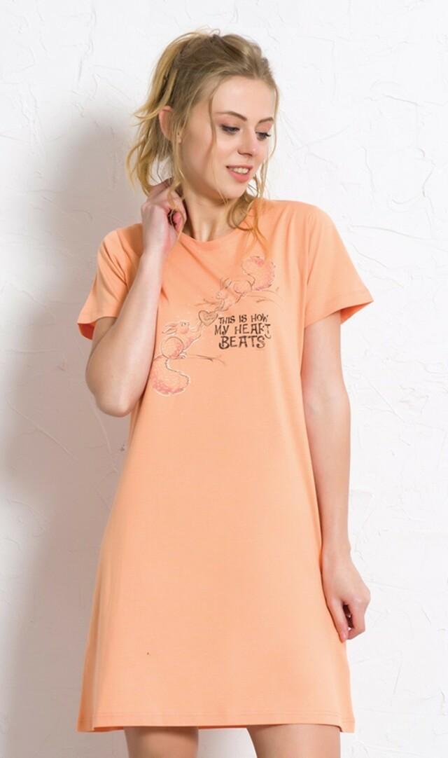 Dámská noční košile s krátkým rukávem Veverky se srdcem - meruňková S