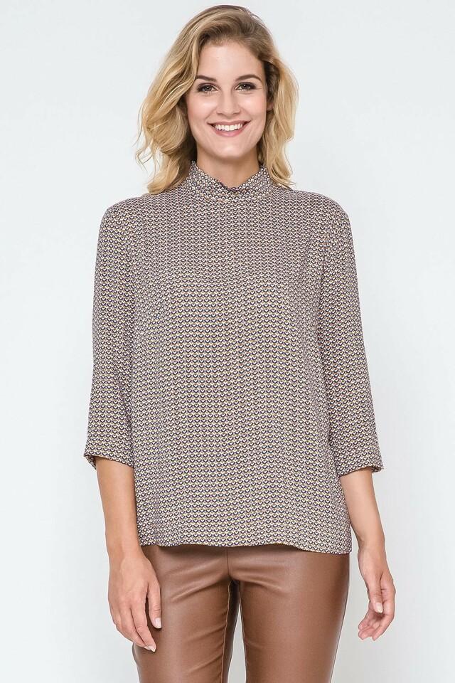 Košilová halenka Ennywear 240207 - 42 - okrová-modrá-hnědá
