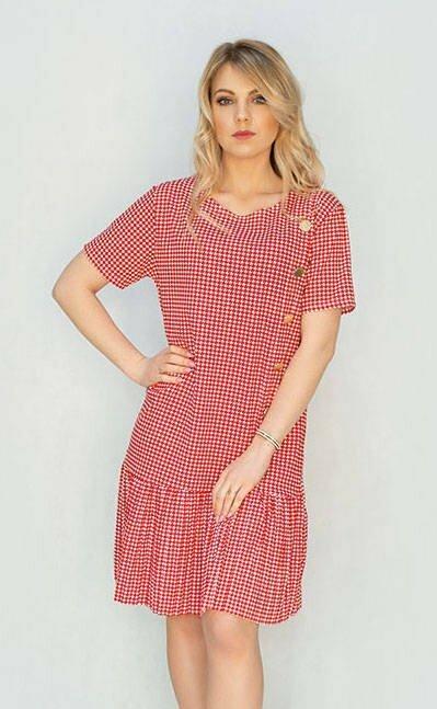 Červeno-bílé dámské šaty s pepitovým vzorem (363ART) - jedna velikost - Červená