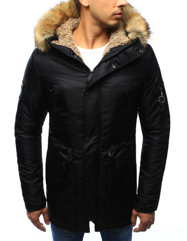 Pánská zimní bunda s kapucí R-55 (tx1971) - John Ricci - L - černá
