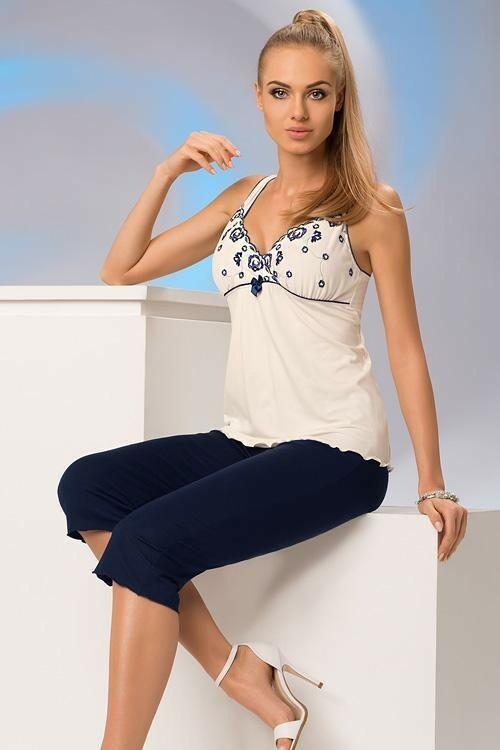 Dámské pyžamo Donna Eliza PJ 3/4 - XL - krémová