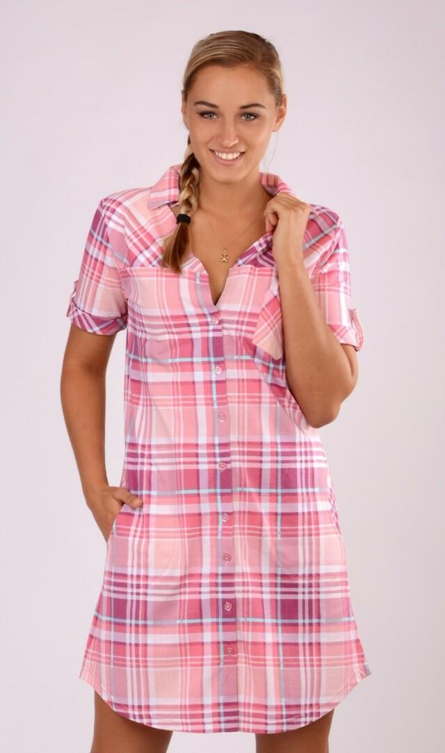 Dámské domácí šaty s krátkým rukávem Maruška - starorůžová 3XL