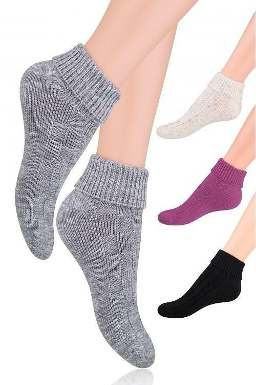 Vlněné dámské ponožky Steven art.097 - - okrová