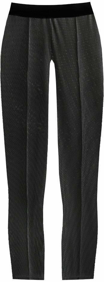 Černé lesklé puntíkované legíny (317ART) - XL (42) - černá