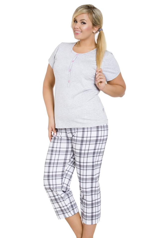 Dámské pyžamo pro plnoštihlé Teresa šedé - 3XL