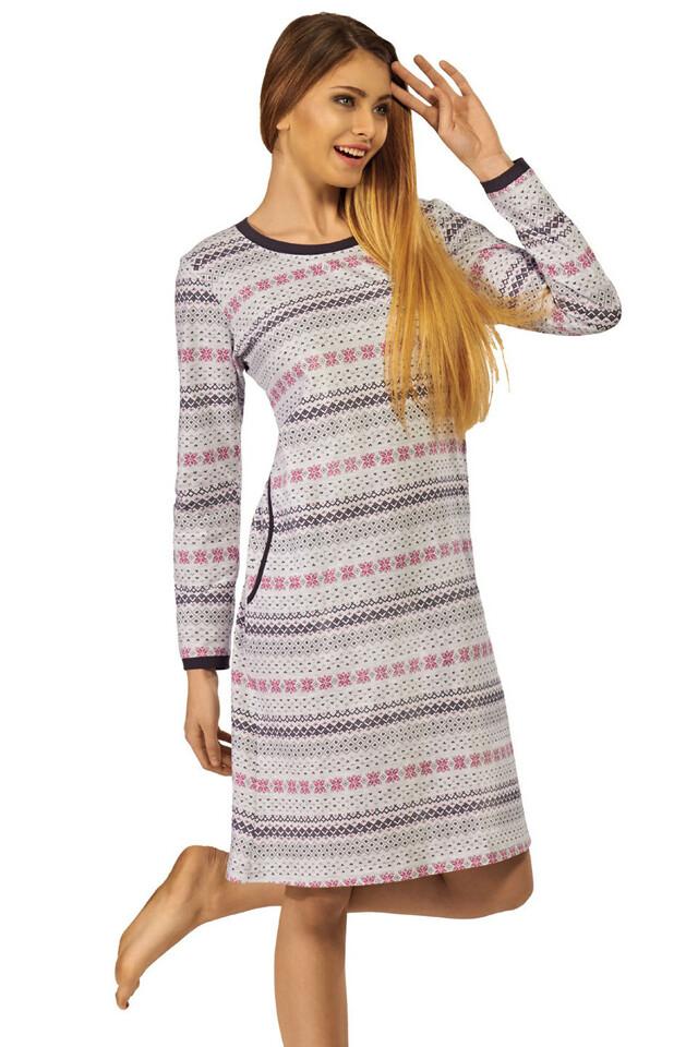 Bavlněná noční košile Cecilie šedá s norským vzorem - L