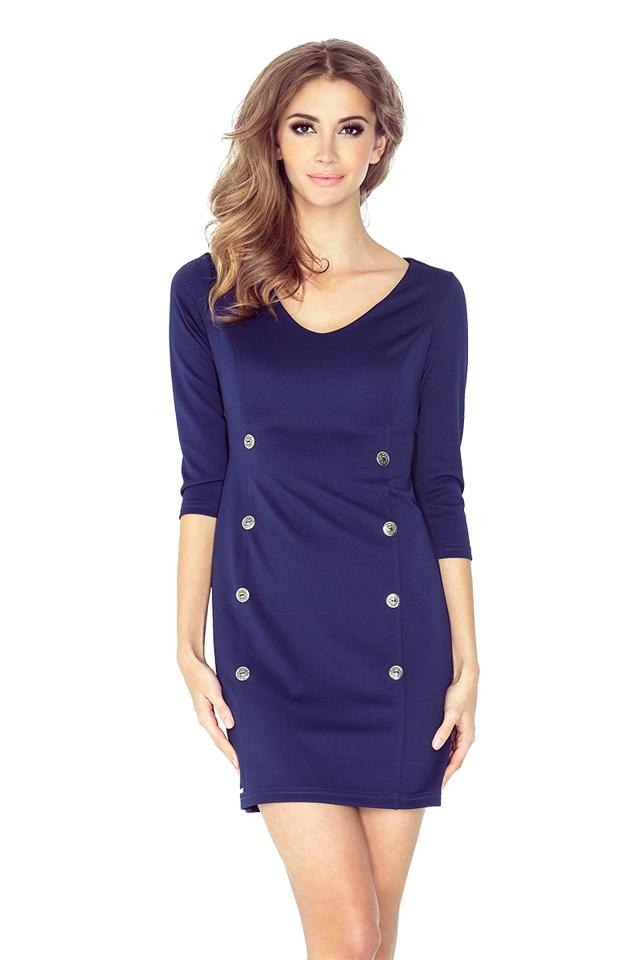 Tmavě modré námořnické šaty s knoflíky MM 019-1