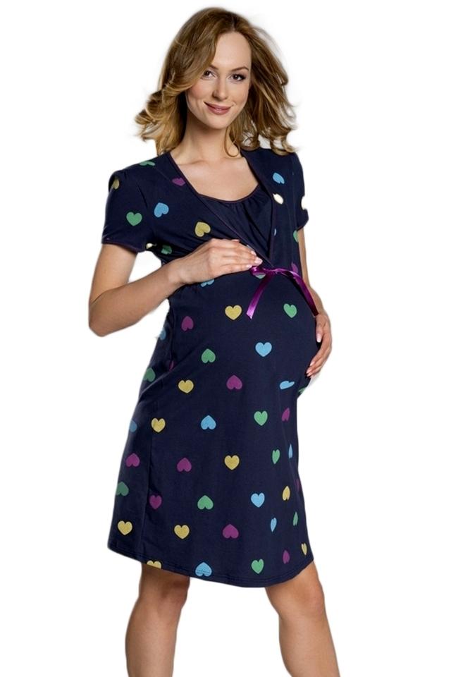 Těhotenská noční košile Alla - S - tmavě modrá