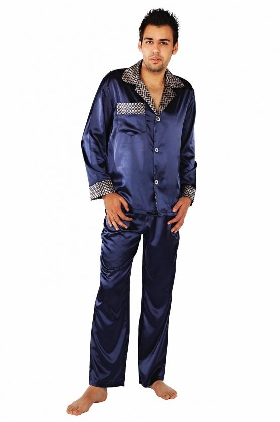 Saténové pánské pyžamo Satyna - De Lafense - 4XL - tm.modrá 0b38e7b389