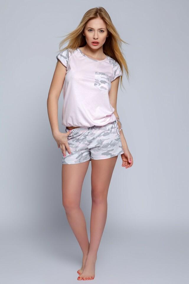 Dámské pyžamo Military - Sensis - L - růžová-šedá