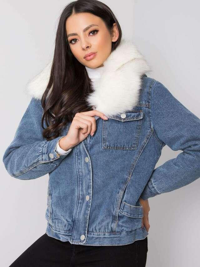 Modrá džínová bunda s kožešinou - M/L