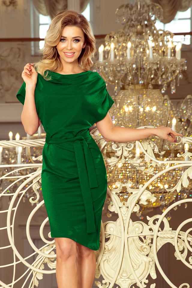 7a7a548d7a ROXI - Zelené dámské šaty s asymetrickou spodní částí a páskem 240-1 - S