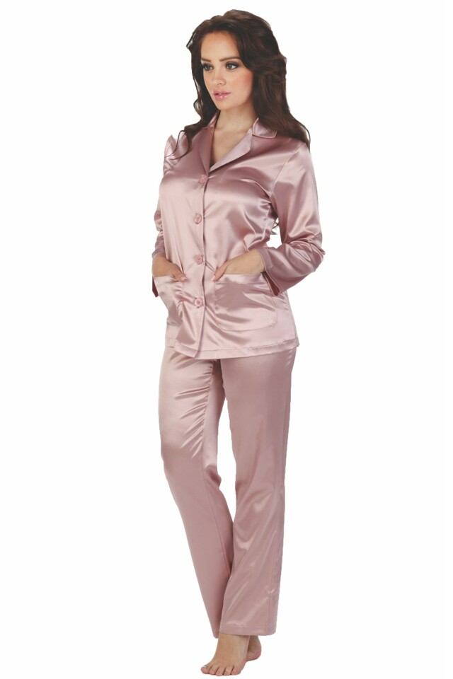 Dámské saténové pyžamo Classic dlouhé růžové - XL