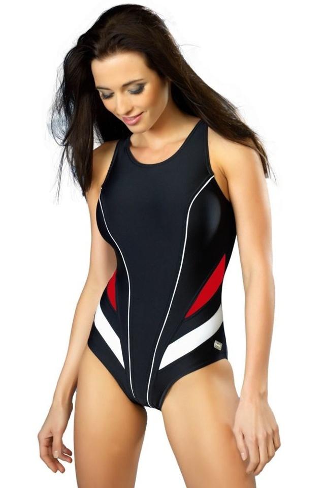 Jednodílné sportovní plavky Liana černé - XL f078b375d4