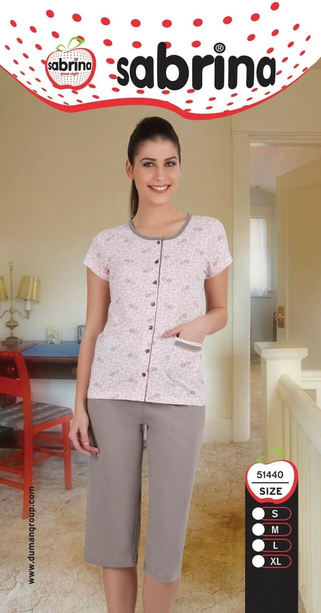 Dámské pyžamo 51440 Sabrina - S - růžová-šedá