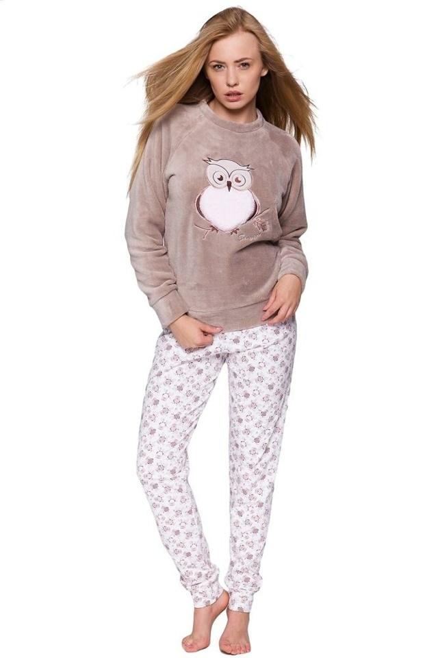 Dámské hřejivé soft pyžamo Sova béžové - XL